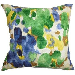 Delyne Floral 22-inch Down Feather Throw Pillow Green Blue