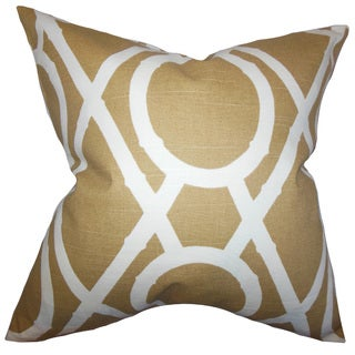 Whit Geometric 22-inch Down Feather Throw Pillow Amber