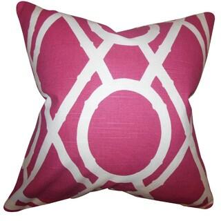 Whit Geometric 22-inch Down Feather Throw Pillow Raspberry