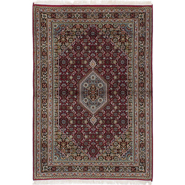 Ecarpetgallery Hand-knotted Bijar Red Wool and Cotton Rug (4'2 x 6'3)