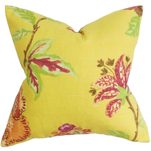 Xois Floral 22-inch Down Feather Throw Pillow Yellow