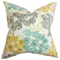 "Heloise Floral 22"" x 22"" Down Feather Throw Pillow Gray"