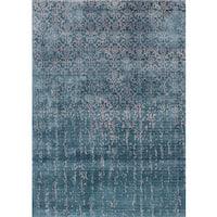 eCarpetGallery Galleria Turquoise/Tan Art Silk Handmade Rug