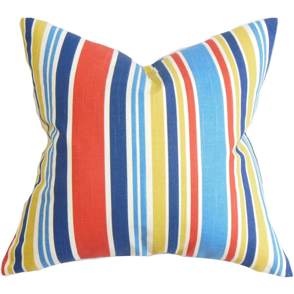 Manila Stripe 22-inch Down Feather Throw Pillow Red