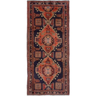eCarpetGallery Hand-knotted Sarab Blue/ Brown Wool Rug (4' x 9'4)