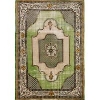 Ecarpetgallery Antalya Green/Ivory Wool and Cotton Hand-knotted Rug (6'8 x 9'11)