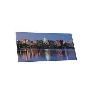 City Skylines 'Madison Wisconsin' Gallery-wrapped Canvas Wall Art - Blue