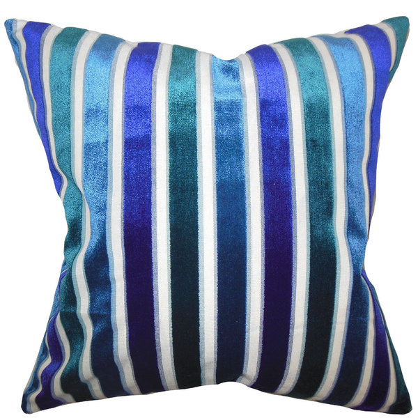 Alton Stripes 22-inch Down Feather Throw Pillow Ultramarine