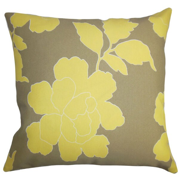 "Verda Floral Outdoor 22"" x 22"" Down Feather Throw Pillow Yellow Brown"