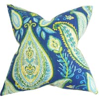 """Corisande Floral 22"""" x 22"""" Down Feather Throw Pillow Blue"""