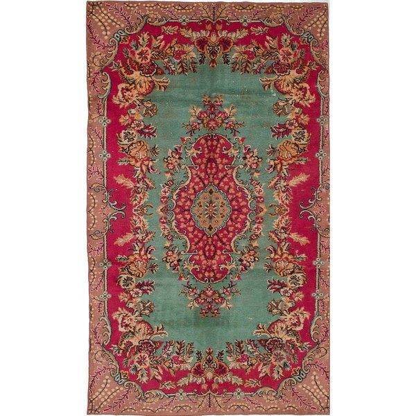 Hand-knotted Antalya Vintage Red Wool Rug. Opens flyout.