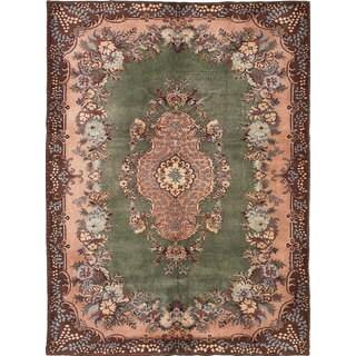 ecarpetgallery Hand-knotted Antalya Vintage Green Wool Rug (7'0 x 9'6)