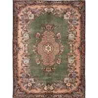 ecarpetgallery Hand-knotted Antalya Vintage Green Wool Rug (7'0 x 9'6)