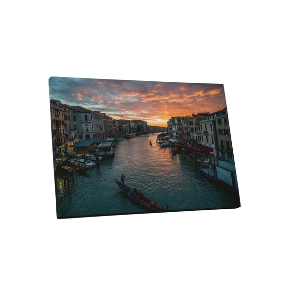 City Skylines 'Venice Italy at Sunset' Gallery-wrapped Canvas Wall Art - Orange