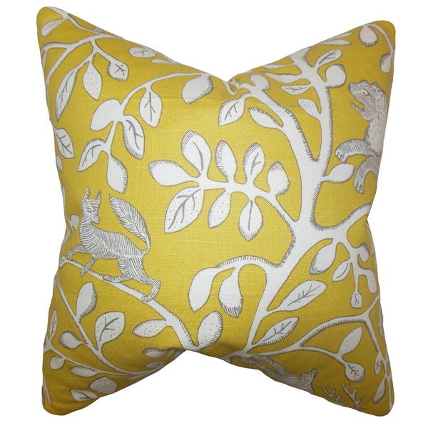 Honorine Floral 22-inch Down Feather Throw Pillow Yellow