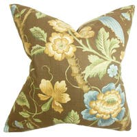 Iselin Floral 22-inch Down Feather Throw Pillow Brown
