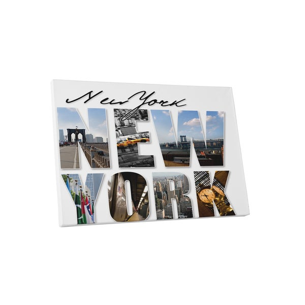 City Skylines 'New York Points of Interest' Gallery-wrapped Canvas Wall Art