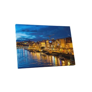 City Skylines 'Porto Portugal' Gallery-Wrapped Canvas Wall Art - Blue
