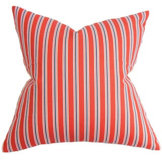"Nouvel Stripe 22"" x 22"" Down Feather Throw Pillow Red"