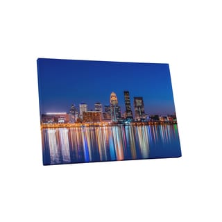 City Skylines 'Louisville Kentucky' Gallery-wrapped Canvas Wall Art