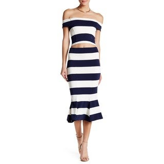 Nadia Tarr Women's Navy/White Rayon Trumpet Hem Striped Skirt