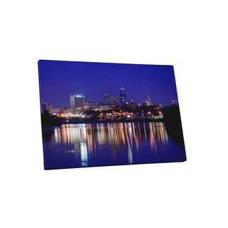City Skylines 'Kansas City at Night' Gallery-wrapped Canvas Wall Art