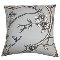 """Tadita Floral 22"""" x 22"""" Down Feather Throw Pillow Gray"""