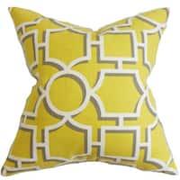 """Ono Geometric 22"""" x 22"""" Down Feather Throw Pillow Yellow"""