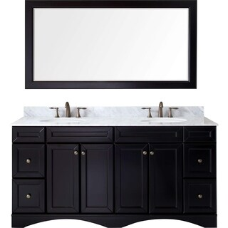 Virtu USA Talisa 72-inch Italian Carrara White Marble Double Bathroom Vanity Set with No Mirror