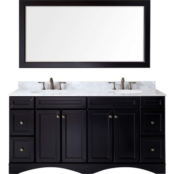 Virtu USA Talisa 72 Inch Round White Marble Double Bathroom Vanity Set  Without Faucets