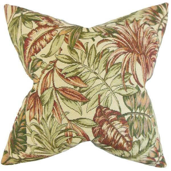 """Oracia Foliage 22"""" x 22"""" Down Feather Throw Pillow Green"""