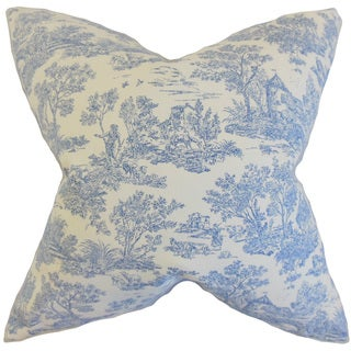 Ramira Toile 22-inch Down Feather Throw Pillow Denim