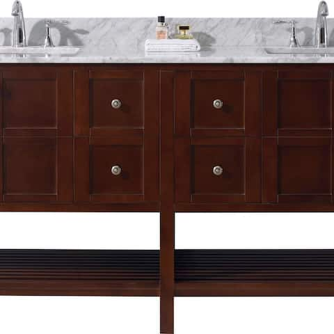 Virtu USA Winterfell 72-inch Square White Marble Double Bathroom Vanity Set without Faucets