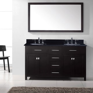 Virtu USA Caroline 60-inch Double Bathroom Vanity Set with Black Granite Top with Round Basins and Faucet Option