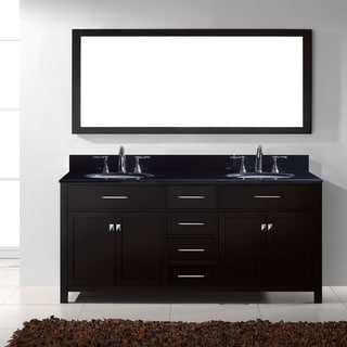 Virtu USA Caroline 72-inch Double Bathroom Vanity Set with Black Granite Top with Round Basins and Faucet Option