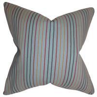 Jaylen Stripes 22-inch Down Feather Throw Pillow Blue