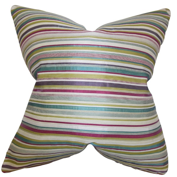 "Karsten Stripes 22"" x 22"" Down Feather Throw Pillow Multi"