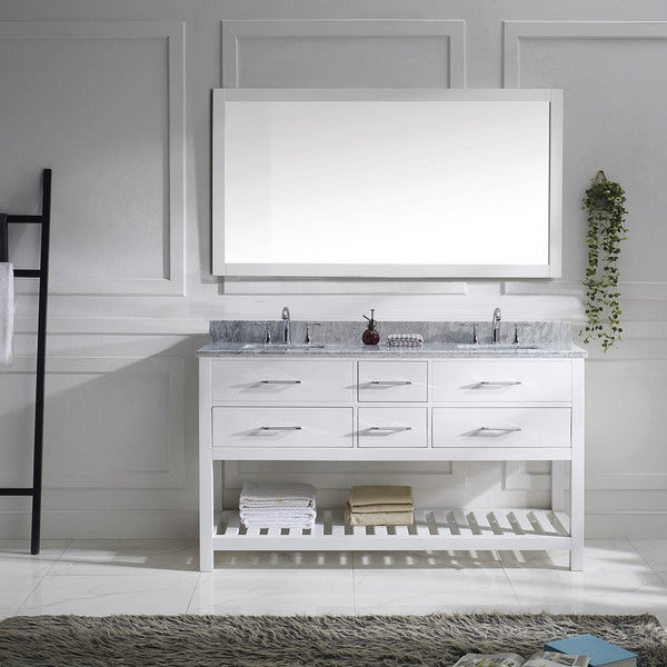 Shop caroline estate 60 inch double vanity white marble top square sinks on sale free for Caroline 60 inch double sink bathroom vanity set