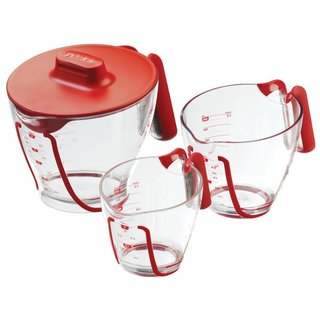Zyliss Mix 'n Measure Clear Polycarbonate and Red Lid Measuring Cups (Pack of 3)