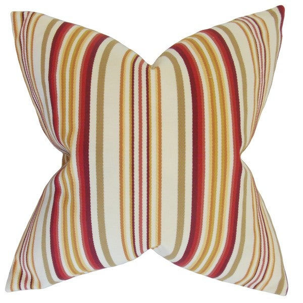 "Magaidh Stripes 22"" x 22"" Down Feather Throw Pillow Gold Red"