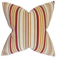 """Magaidh Stripes 22"""" x 22"""" Down Feather Throw Pillow Gold Red"""