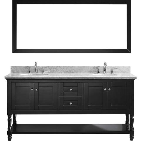 Julianna 72-inch Double Vanity White Marble Top Round Sinks