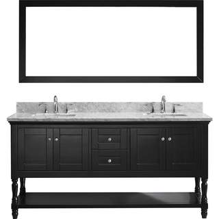 Julianna 72-inch Double Vanity White Marble Top Square Sinks Mirror (2 options available)