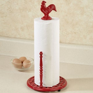 Cast Iron Rooster Paper Towel Holder- Red