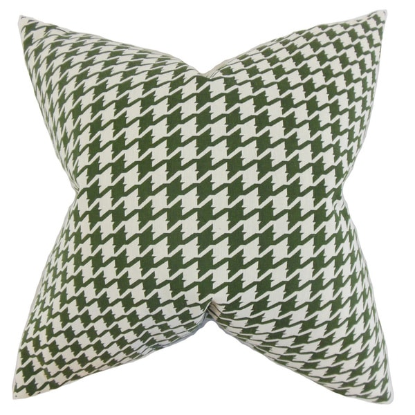 "Presley Houndstooth 22"" x 22"" Down Feather Throw Pillow Pine"