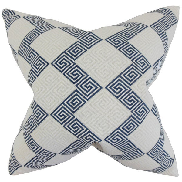 "Sandrine Geometric 22"" x 22"" Down Feather Throw Pillow Indigo"
