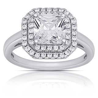 Dolce Giavonna Sterling Silver Cubic Zirconia Square Engagement Ring