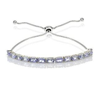 Glitzy Rocks Sterling Silver Tanzanite Oval-Cut Adjustable Bracelet