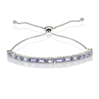 Glitzy Rocks Sterling Silver Tanzanite Oval-Cut Adjustable Bracelet