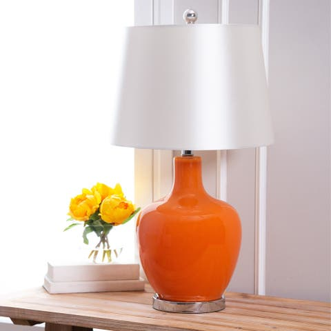 Abbyson Faremont Orange Glass 24-inch Table Lamp